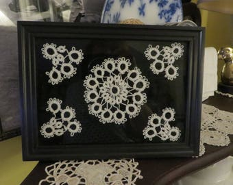 Hand Tatting FRAMED in 5 by 7 Inch Frame  //  Black & White Wall Decor  //  Vintage Handmade Stitching Tatting  //  Queen Ann's Lace Flowers