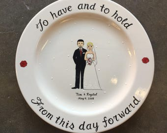 Personalized Hand Painted Ceramic Wedding Plate or Anniversary Plate, wedding gift, to have and to hold, from this day forward