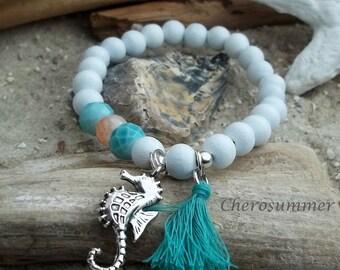 Wooden Bead Bracelet white seahorse