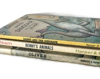 Set of 3 Vintage I Can Read Books, Oliver, Danny and the Dinosaur, and Benny's Animals, 1950' and 60's, Syd Hoff Books