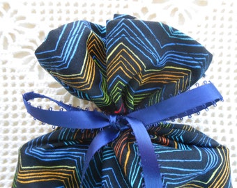 Chevron Fabric Gift Bag wrap in 2 sizes, rainbow on black,all occasion birthday special gift, masculine Festive cloth bag