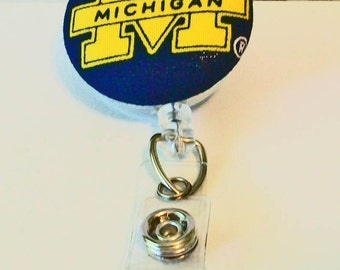 Fun Navy and Gold Go Blue Wolverines Inspired Fabric Button Retractable Badge Reel Clip