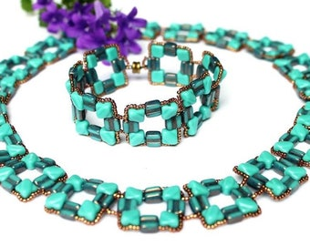"""Jewellery set necklace and bracelet Shach-mat"" classic, elegant, turquoise, bronze"