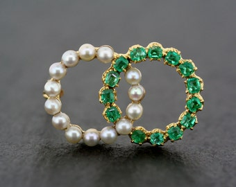 Antique Emerald Brooch - Antique French Emerald & Pearl Circle Brooch - 18ct Gold Emerald Brooch