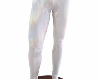 Mens Leggings Flashbulb Holographic Spandex Rockstar Rave Festival Yoga Meggings - 154508