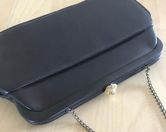Dark Brown Clutch Handbag Faux Leather Cocktail