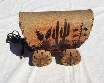 1969s Vintage Covered Wagon Lamp Light, Western Cactus Tree Table Lamp