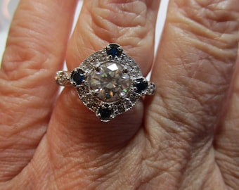 Ladies 1.1ct moissanite with sapphire accents in sterling silver