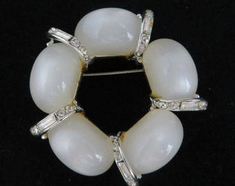 Vintage Kramer Brooch White Moonstone Pin Signed Kramer Brooch Crystal Baguette Wreath Pin, FREE SHIPPING