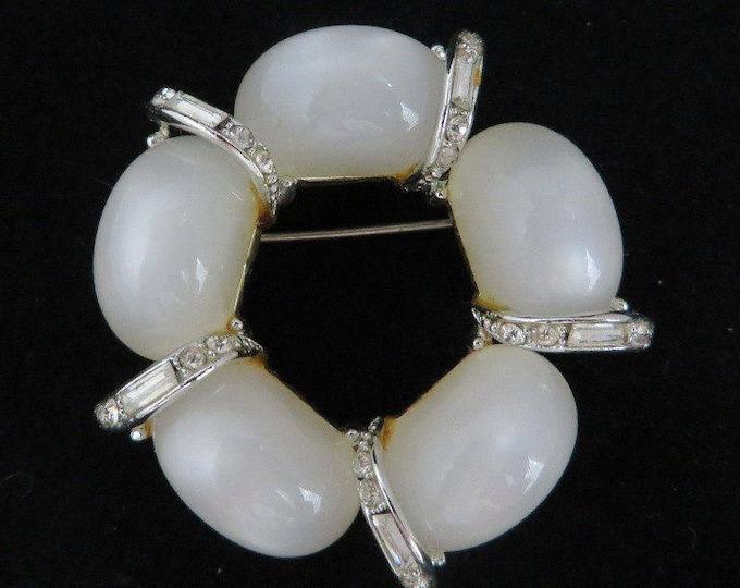 Vintage Kramer Brooch White Moonstone Pin Signed Kramer Brooch Crystal Baguette Wreath Pin