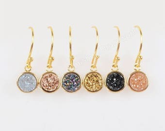 Wholesale Pretty Gold Plated Tiny Round Rainbow Natural Titanium Agate Druzy Earrings Sparkly Drusy Crystals Geode Jewelry Earring ZG0160