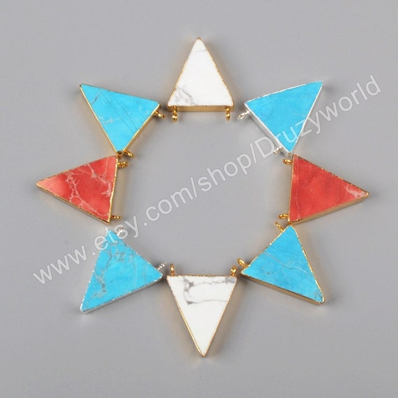 Wholesale gold silver plated triangle multi colors howlite for Triangle wholesale printing