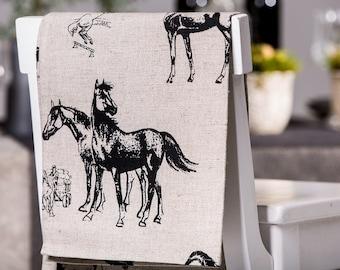 Linen Tea Towels / Set of 2 Kitchen Linen Tea Towels Horses