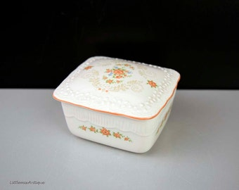Vintage Small Porcelain Floral Decor Lidded Trinket Box Retro Jewelry Storage Box