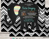 Elephant aztec tribal baby shower invitation, chalkboard, boy or girl shower, black and white, printable digital files