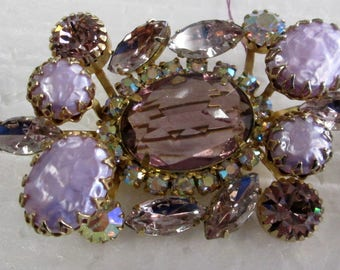 Beautiful Amethyst & orchid Brooch with matching clip earrings