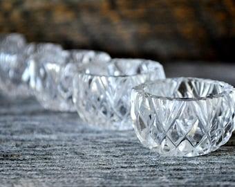 Cut Glass Salt Dip Set of 5