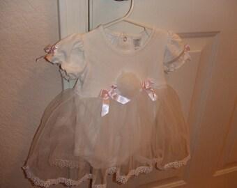Baby Girl Lace Dress = 9 MOS. - White with Pom Pom
