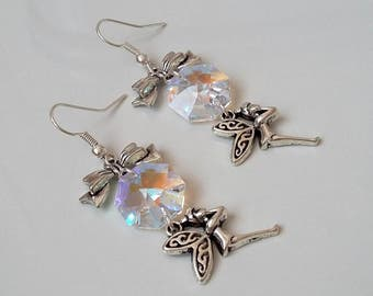 Earrings with fairy and crystal iridescent color