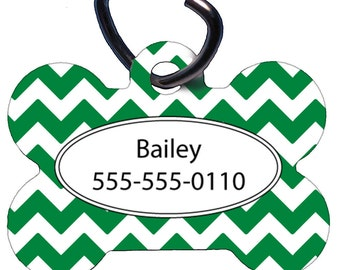 Pet ID Tag, Custom Pet Tag, Dog Tag, One Sided, Two Sided, Personalized, Bone Shaped, Aluminum, Kelly Green Chevron, Name, Phone Number