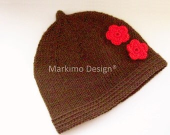 Baby hats, knitted baby hat, Brown, red, hat