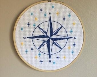 "Cute Compass Rose Cross Stitch 6"" Wall Art"