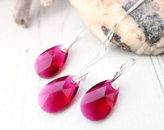 Sterling Silver Swarovski Earrings Necklace Set-Swarovski Crystal Jewellery-Ruby Red Deep Red-Bridesmaids Teardrop Dangle Drop Earrings