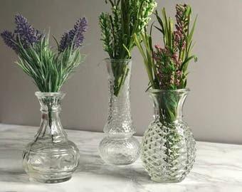 Set of Three Glass Vases / Glass Vase / Flower Vase Set of 3 / Wedding Vases / Vase Instant Collection / Centerpiece Vases