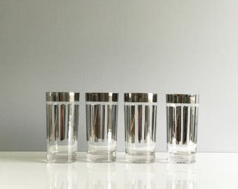 Mid Century Silver Striped Hi Ball Glasses / Mid Century Silver Glasses / Dorothy Thorpe Style Glasses