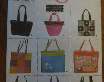 Simplicity 9963, totes in various shapes and sizes, UNCUT sewing pattern, craft supplies,