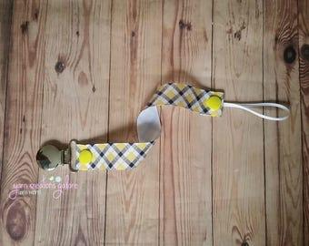 Pacifier Holder--Yellow, White, Black & Grey Plaid
