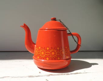French Vintage Teapot/ French Vintage Enamel Teapot/French Vintage Enamelware/Red Teapot/Red And Orange Enamel Teapot