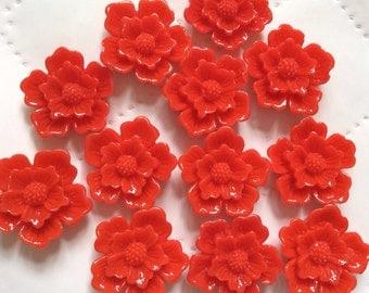 8 pcs 19 mm Red Sakura flower,red Resin flower,hot red Sakura flower,Sakura flower,flower kit,flat back flower,crimson cabochon flower