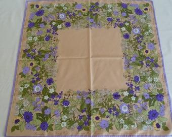 Vintage Cornelia James Scarf. Vintage square scarf. Vintage head scarf. Lilac scarf. Green scarf. Beige scarf. Floral scarf. Purple scarf.