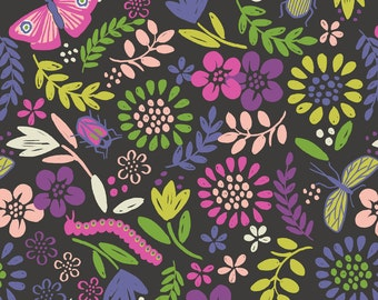 A82-1 Mini Beast Garden Lewis & Irene 'DISCOUNTED Price' Our Friends in the Garden A82-1 Mini Beast Garden Black Patchwork Quilting Fabric
