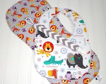 Baby Gift Set - Zoo Animals, Elephants, Lions, Giraffes, Toucans - Bib, Burp Cloth, Pacifier Clip - Infant Gift Set, Baby Shower Gift