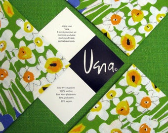 RESERVED for dni *** VERA Neumann Placemat Set 8 Piece Vintage Ladybug 1960s Bright Green Table Top Coordinates 4 Woven Placemats 4 Napkins