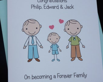 Personalised Handmade Adoption / Forever Family Congratulations Card- Any family Group