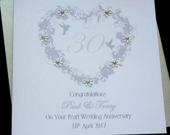 Pearl / 30th Wedding Anniversary personalised card