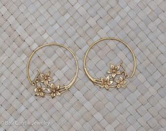 Starflo Brass Earrings, Smal Flowers Spiral Hoop Earrings.