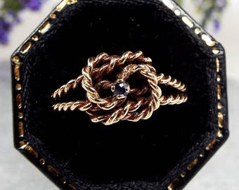 Vintage 1978 9ct Yellow Gold Love Knot Rope Ring with Blue Sapphire / Size K