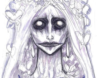 Banshee Monster Girl Watercolor