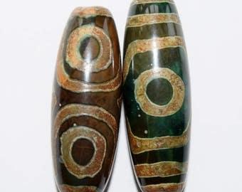 Large Tibetan Dzi Beads, Ethnic Tribal Tibetan Etched Agate Stone Dzi Zee Zi Beads, 40 x 15 mm, 2 beads, item 3