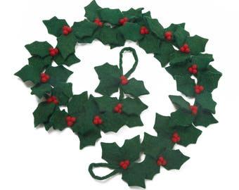 Holly Garland - Felt Garland - Felted decorations - Holly leaves - Christmas decoration - Wedding Decoration - Handmade