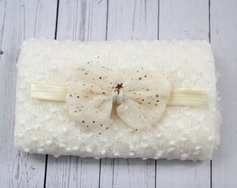 Newborn Wrap Set, Off White Wrap Set, Off White Knit Wrap, Photography Prop, Newborn Wrap Set, Photography Prop, Pebble Knit Wrap Set RTS