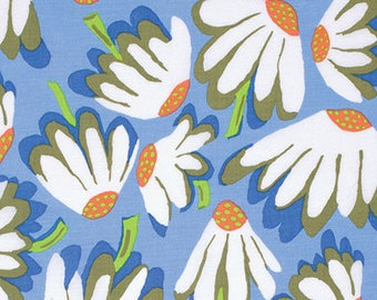 Kaffe Fasset fabric Brandon Mabley Spring 2014 Lazy Daisy BM44 Blue white green craft floral sew quilt apparel freespirit fabric by the yard