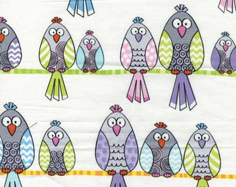 LET'S TWEET - Birds On a Wire in White - Cute Birds Cotton Quilt Fabric - Kanvas Studios for Benartex Fabrics - 6236-09 (W3741)