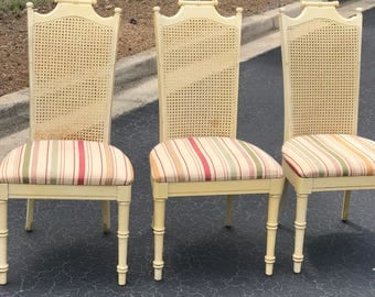 Vintage faux bamboo chairs  - a set of three