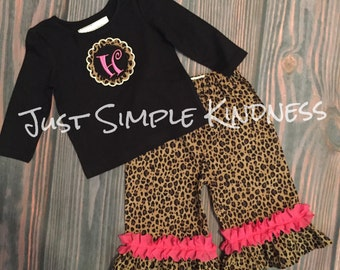Girls Fall outfit, Girls Cheetah outfit, Girls' Clothing, Girls Monogrammed outfit, Girls Personalized outfit, Girls ruffle outfit, Ruffle