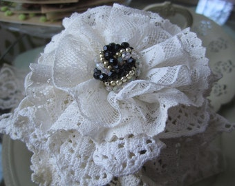 Lace-filled Jar - Vintage Lace Supply - Victorian Lace in Jar